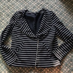 Black and white striped knit jacket/blazer